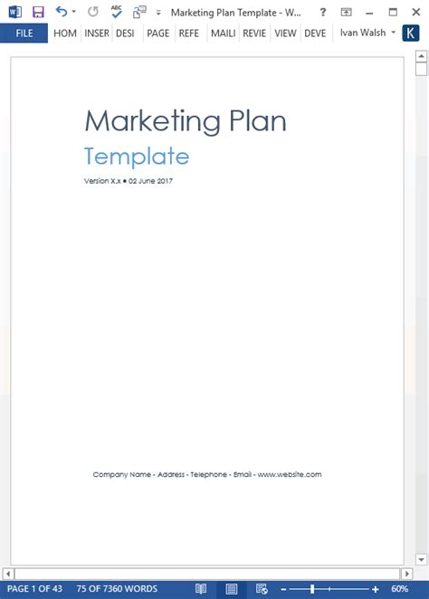 marketing plan template 40 page ms word template and 10