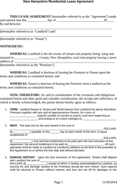 Unh Mba Apartment Waiver by New Hshire Rental Agreement For Free