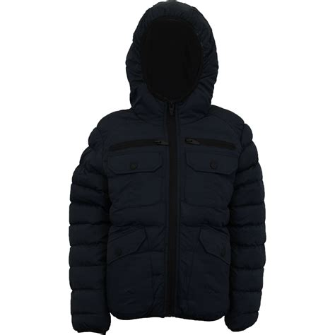 mens coat hooded quilted plain padded puffer jacket