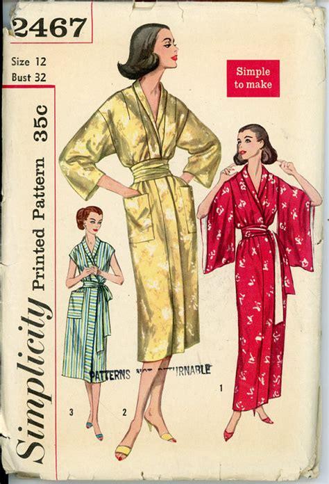 kimono robe pattern simplicity simplicity 2467 misses 1950s kimono and obi robe pattern
