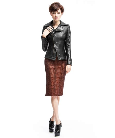dd leather jacket pencil skirt with black welt deborah