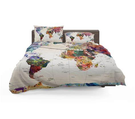 watercolor world map with place names bedding set travel