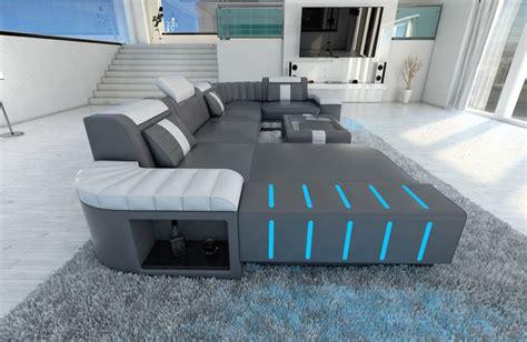 big sofa mit led big sectional leather sofa bellagio u with led lighting