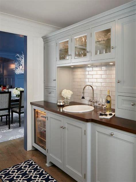 blue gray butler pantry cabinets  light gay arabesque