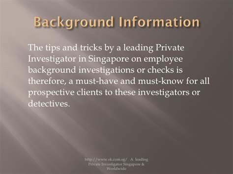 Singapore Employment Background Check Tips And Tricks By A Leading Investigator In Singapore On Emp