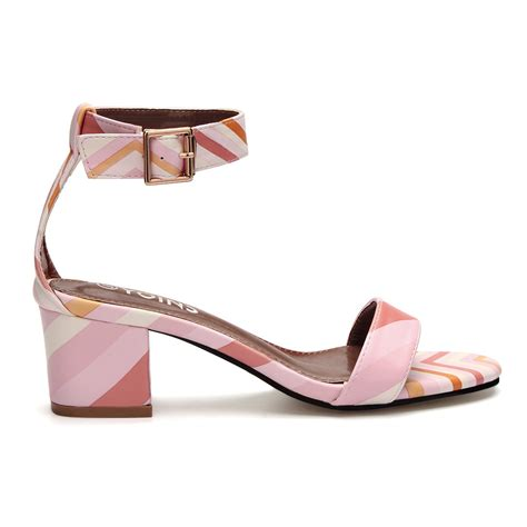Sendal Wedges Fashionable Bf Pink R689 pink contrast color block fashion heel sandals with single