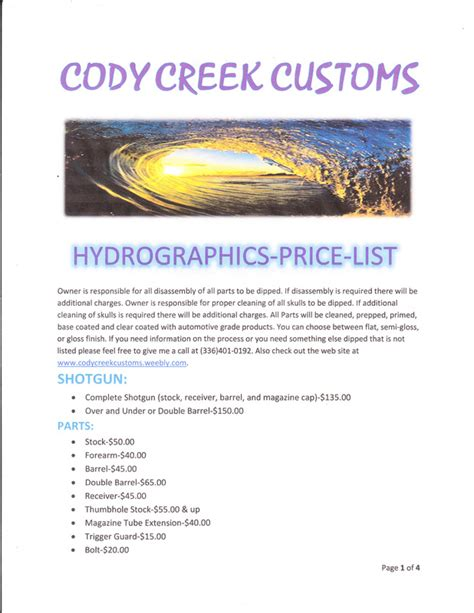 Handcrafted Homes Price List - hydrographics price list creek customs