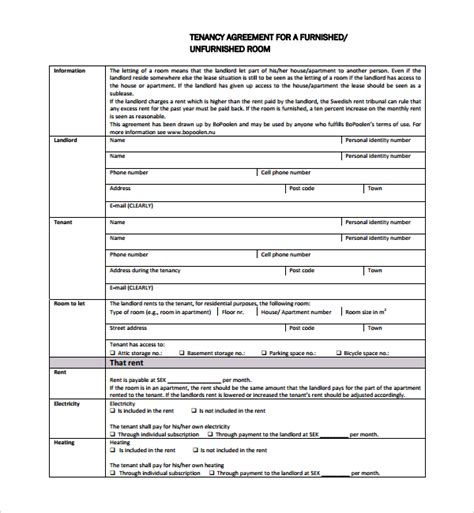 simple tenancy agreement template sle tenancy agreement template 9 free documents in