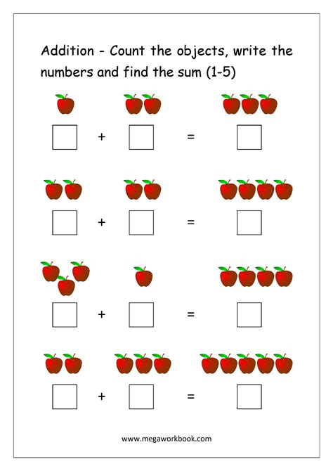 printable numbers with objects addition to 5 worksheet counting creatures addition