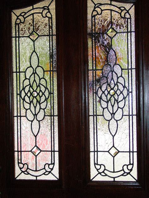Beveled Glass Front Doors Leaded Stained Glass Entry Stained Glass Inserts For Exterior Doors