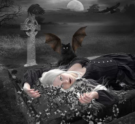 Wallpaper In Bedroom cat night woman fantasy gothic goth dark wallpaper