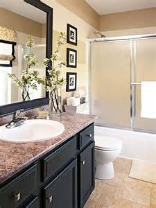 Updated Bathroom Ideas Done In A Weekend Bathroom Refreshes Vanities Cabinets And Striped Walls