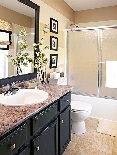 Bathroom Update Ideas Done In A Weekend Bathroom Refreshes Vanities Cabinets And Striped Walls