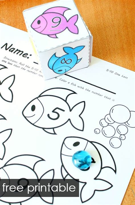 printable numbers on fish roll and color summer math games fantastic fun learning