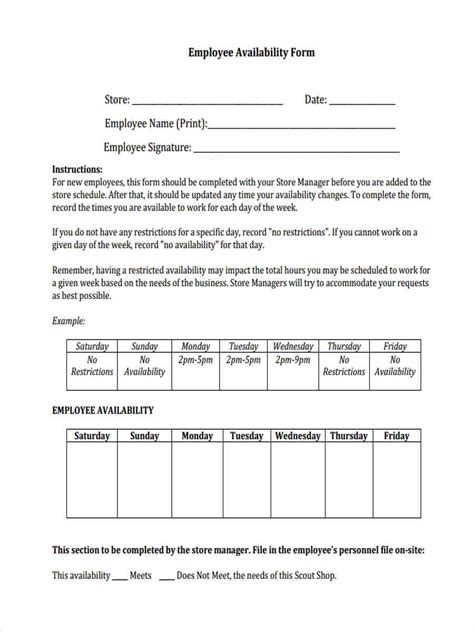work availability form template 7 employee availability form sle free sle