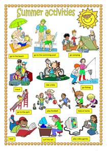 summer activities worksheet free esl printable