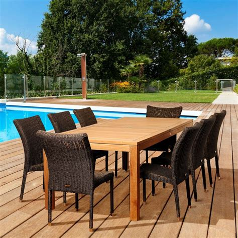 Teak Patio Dining Sets Amazonia Dolma 9 Teak Rectangular Patio Dining Set Sc Rinrecbig 8bari The Home Depot
