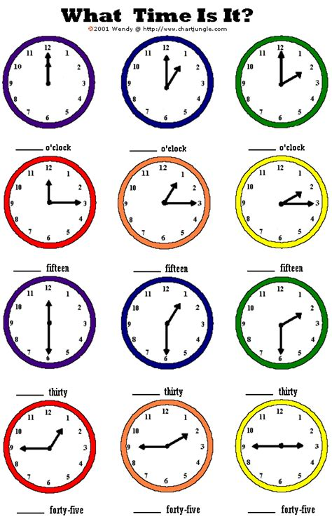 Time To The Hour Worksheets by Girlshopes