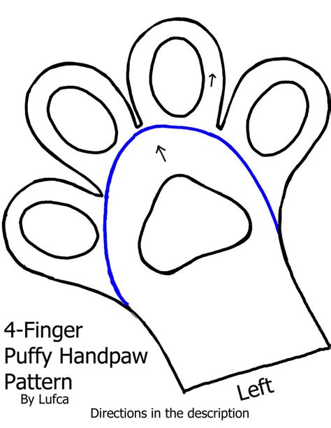 Free 4 Finger Puffy/Toony Handpaw Pattern by Lufca on