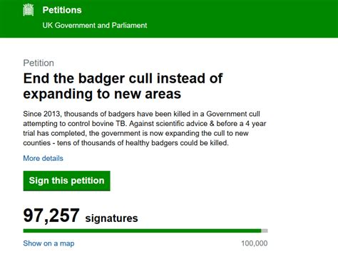Badger Cull Petition by Badger Cull E Petition To Pass 100 000 Signatures Today