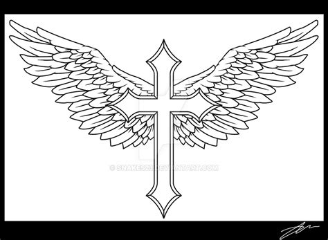 cross with wing tattoos winged cross by snakes23 on deviantart