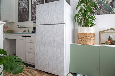 How To Make A Paper Refrigerator - how to cover a refrigerator with removable wallpaper hgtv