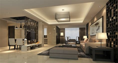 chinese modern minimalist living room interior design 3d 3d modern house living dining room partition china