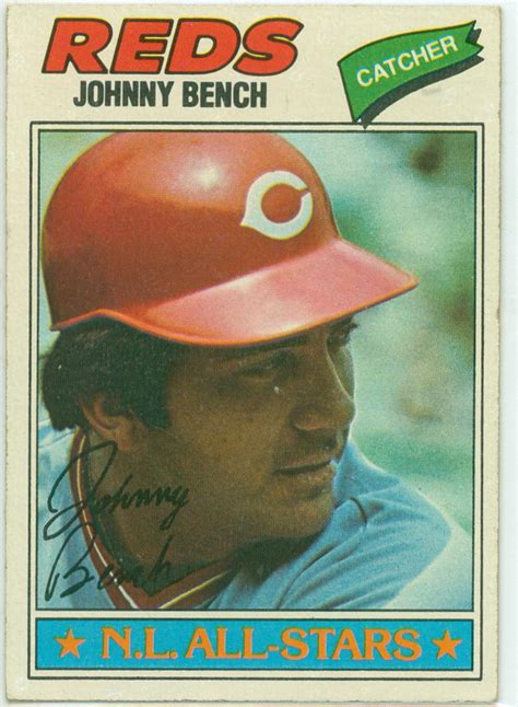 johnny bench baseball cards johnny bench 1977 topps baseball card 30 year old cardboard