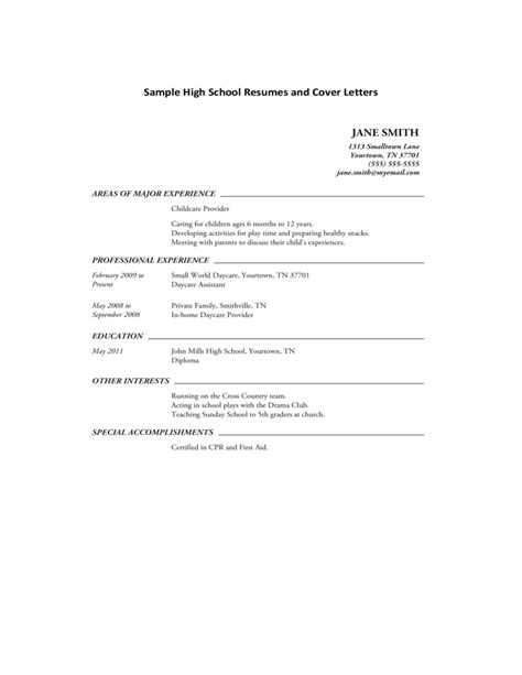 sle format resume cover letter sle high school resumes and cover letters free