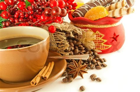 how many copies of a cup of christmas tea sold branch from berries and a fur tree and a cup of coffee stock photo colourbox