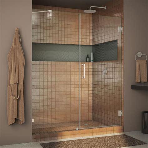 Frameless Shower Door Hinge Adjustment Dreamline Unidoor 58 In X 72 In Frameless Pivot Shower Door In Brushed Nickel With Handle