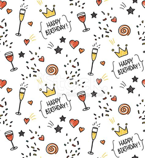 free doodle themes for bbm seamless doodle pattern birthday theme stock
