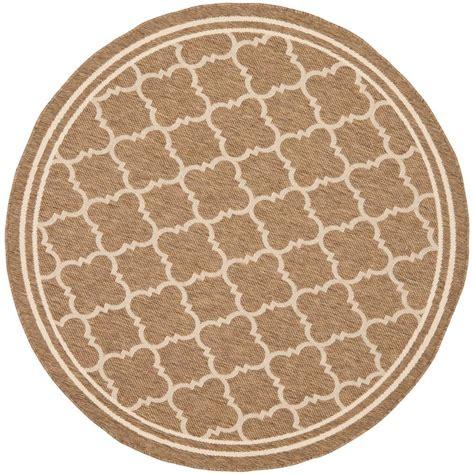 Circular Outdoor Rug Safavieh Courtyard Brown Bone 6 Ft 7 In X 6 Ft 7 In Indoor Outdoor Area Rug Cy6918 242