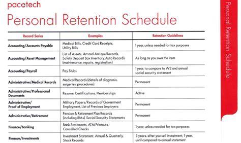 retention schedule template personal retention schedule