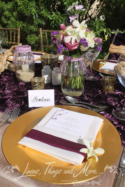 eggplant colored table linens eggplant and chagne wedding d 233 cor at the barcel 243 hyatt
