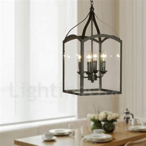 rustic glass pendant light 4 light black metal rustic lodge pendant light with