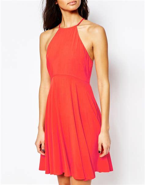 swing halter dress mango halter neck swing dress in red lyst