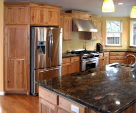 Custom hickory kitchen remodel kitchen cabinets have a natural finish