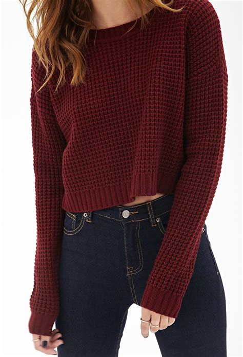 knit pattern cropped sweater lyst forever 21 cropped waffle knit sweater in red