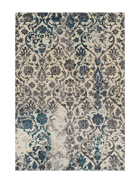 Dalyn Rugs Modern Greys Collection Teal Damask Print Area Damask Rug