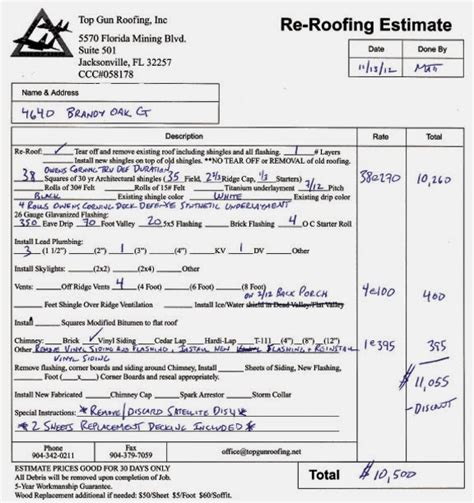 New Roof Estimate Free Printable Blank Roofing Estimate Forms Studio