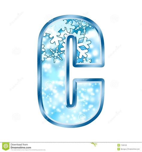 up letter with snow winter alphabet number c stock illustration image of