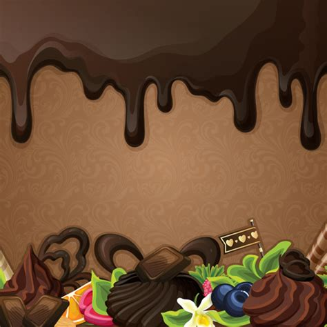 Wallpaper Flower Background Coklat sweet with drop chocolate background set vector free