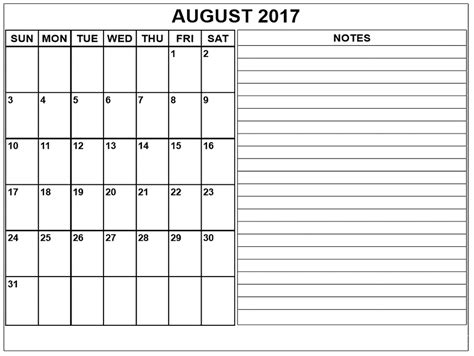 printable calendar 2017 with notes august 2017 calendar with notes