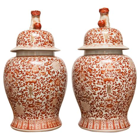 chinese ginger jars pair of large chinese porcelain temple ginger jars at 1stdibs