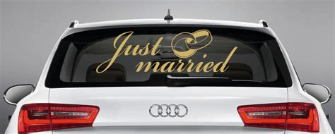 Just Married Aufkleber F Rs Auto by Just Married Gold Auto Aufkleber Hochzeit Hochzeitsauto