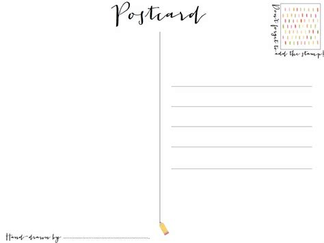 printable postcard template postcard template clipart best