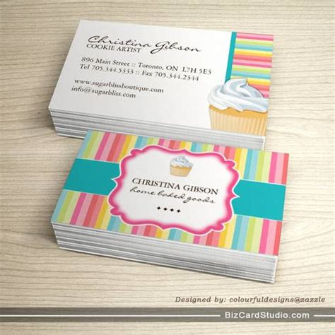 cookie business card templates free whimsical cupcake business cards