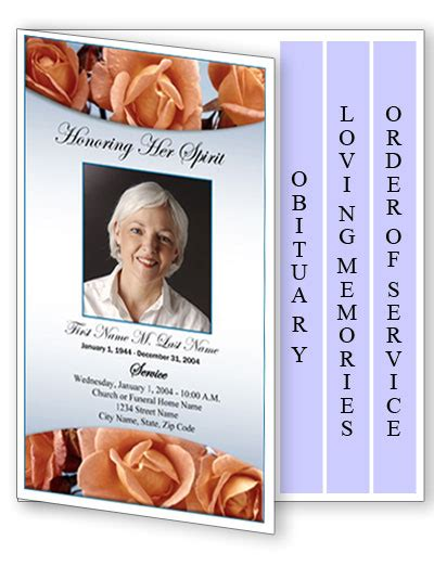 memorial page template funeral program template 4 page graduated memorial roses