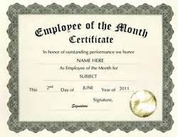 Free Employee Of The Month Certificate Template by Free Templates For Business Certificate Templates